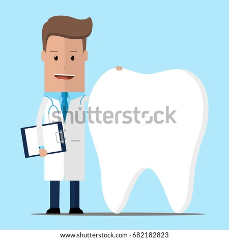 Doctor and teeth , Dentist concept. Vector illustration