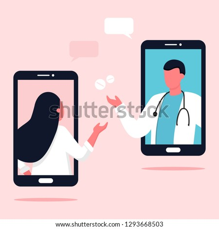 Doctor appointment. Online consultation. Modern healthcare technologies. Hospital. Young female character talking with doctor. Telemedicine, consultation, therapy, pharmacy. App, messenger. #1293668503