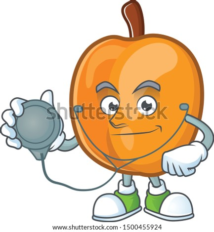 Doctor apricot cartoon character for nutritious maskot
