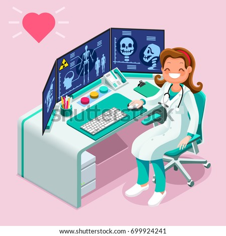 Doctor at radiology hospital computer isometric people emotions in isometric cartoon style medical icon vector illustration.
