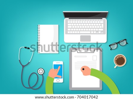 Doctor at the table search information with mobile. Healthcare concept. Vector illustration flat design style. Medical equipment, mobile,book,glasses,laptop,coffee cup and stethoscope,prescription