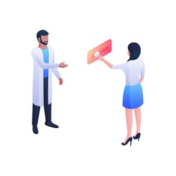 Doctor call for consultation isometric vector concept. Female character presses button on red panel. Man in white coat tells her about diagnosis. Medical healthcare assistance and consultation.