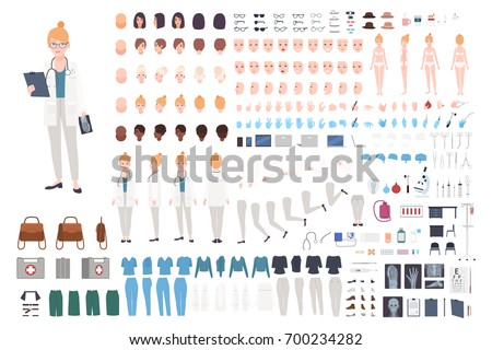 Doctor character constructor. Female doctor creation set. Different postures, hairstyle, face, legs, hands, accessories, clothes collection. Vector cartoon illustration. Woman, front, side, back view.