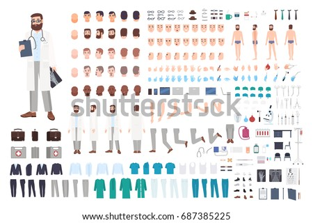 Doctor character constructor. Male doctor creation set. Different postures, hairstyle, face, legs, hands, accessories, clothes collection. Vector cartoon illustration. Guy, front, side, back view.