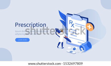 Doctor Character in Hospital filling Medical Rx Prescription Form. Pharmacist Choosing Dose for Medicament. Pharmacy Store and Health Care Concept. Flat Isometric Vector Illustration.