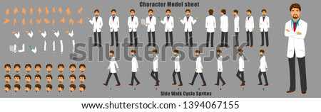 Doctor Character Model sheet with Walk cycle Animation. character design. Front, side, back view animated character. character creation set with various views, face emotions,poses and gestures.