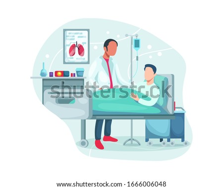 Doctor check patient health condition. Doctors treating the patient, Hospitalization of the patient. Doctor's visit to ward of patient man lying in a medical bed. Vector illustration in a flat style