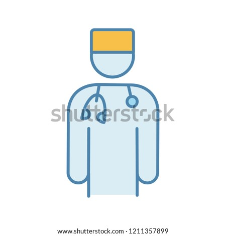 Doctor color icon. Psychotherapist, psychologist, neurologist. Medical worker. Practitioner. Stress prevention and treatment. Isolated vector illustration