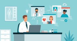 Doctor connecting online and talking with other healthcare professionals on a video conference call, virtual medical conference and telemedicine concept