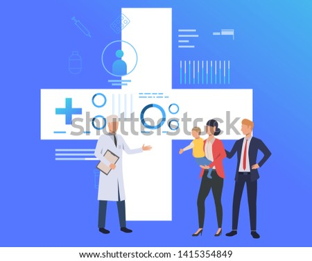 Doctor consulting family with little child vector illustration. Family practice center, healthcare, clinic. Family health concept. Creative design for layouts, web pages, banners #1415354849