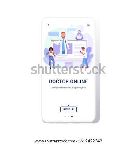 doctor consulting mix race patients giving information about medicine online medical consultation assistance by internet healthcare concept smartphone screen mobile app copy space vector illustration