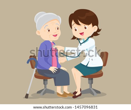doctor examining old patient.Doctor listening to chest of patient with stethoscope. Adult patient visiting doctor. Doctor examining chest of a grandparent.