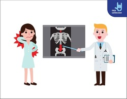Doctor explaining the results of a CT scan of the spine to her woman patient suffering with low back pain. Vector flat icon cartoon design illustration