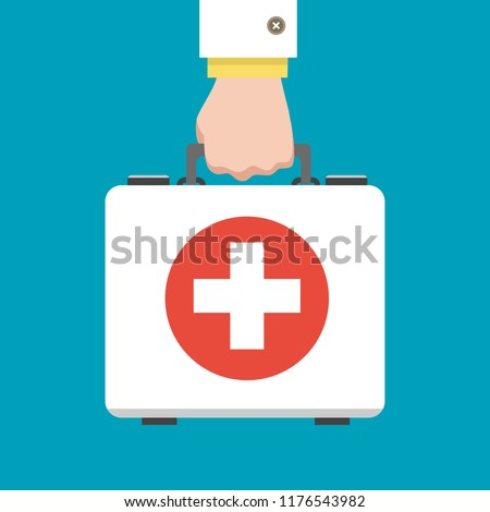 Doctor first aid kit. Hand hold medical bag vector illustration