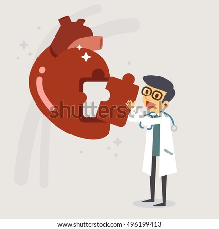 doctor fixing jigsaw heart