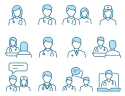 Doctor flat line icons. Editable Stroke. Change to any size and any colour.