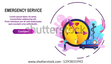 Doctor give treatment for emergency case. Emergency web page. Hospital digital, health care technologies concept. Hospital, cardiac arrest, heart block. Blue violet background. Vector illustration