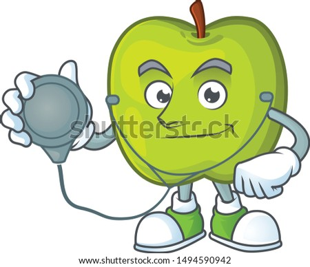 Doctor granny smith in a green apple character mascot