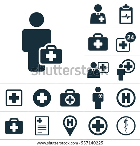doctor health worker icon, medical signs set on white background