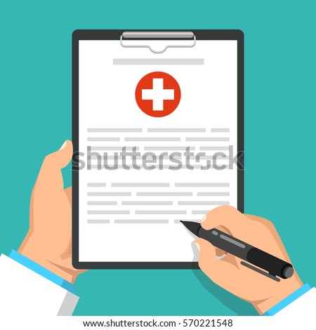 Doctor holding clipboard and takes notes on it. Medical report. Flat vector illustration. #570221548