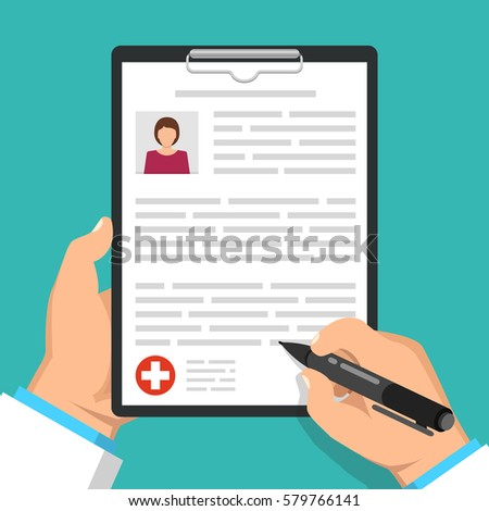 Doctor holding clipboard and takes notes on it. Woman avatar on clipboard. Medical report. Flat vector illustration.