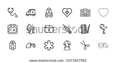 Doctor icons. set of 18 editable outline doctor icons: paints, heart with cross, drop counter, medical sign, nurse, nurse hat, medical scissors, ambulance, nurse gown, mri