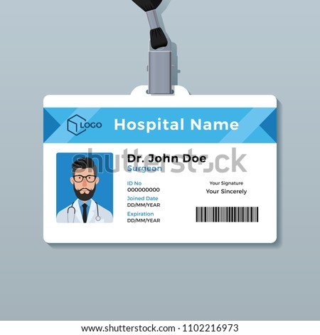 Doctor ID card template. Medical identity badge