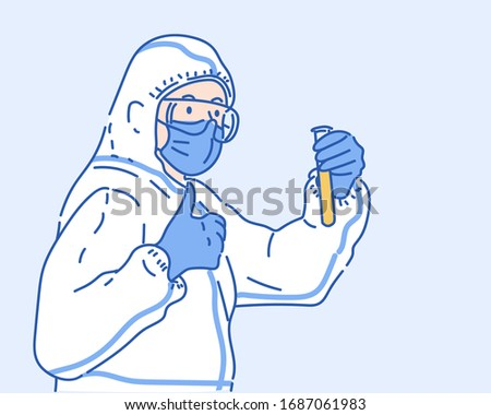 Doctor in a protective PPE suit and mask holds a glass tubeand vaccine. Virus protection concept idea. Hand drawn in thin line style, vector illustrations.