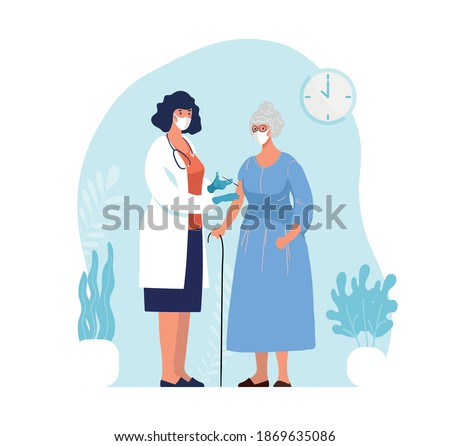 Doctor in clinic giving coronavirus vaccine to an elderly woman, conceptual illustration for immunity health. Adult immunization, covid vaccine. Flat illustration isolated on white background