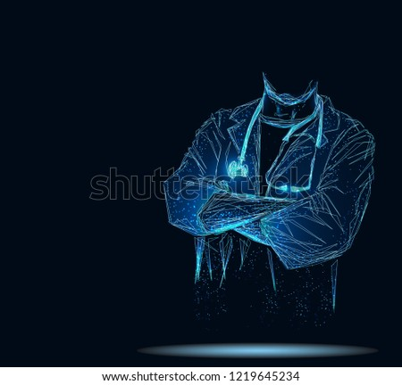 Doctor in hospital. Healthcare service. For wallpaper, template, web design. Abstract polygonal wireframe.