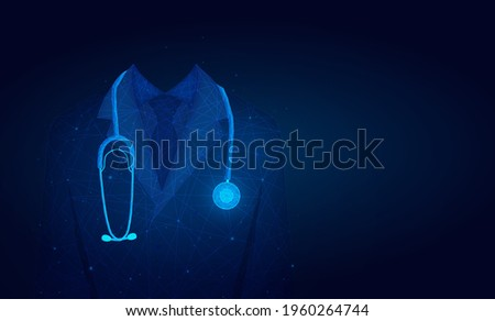 doctor in medical lab coat with a stethoscope.Doctor in hospital background with copy space. low poly wireframe. Foto stock ©