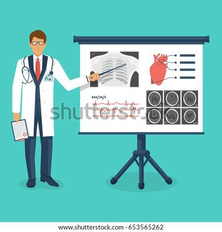 Doctor in white coat with pointer near board. Training medical. Lecture to trainees doctors. Discussion medical investigations, disease. Mentor at blackboard. Conference. Design vector illustration.