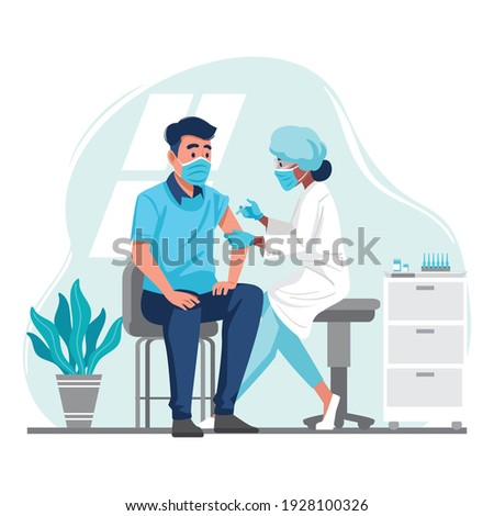 Doctor Injecting Coronavirus Vaccine to a Patient, conceptual illustration for immunity health. Adult immunization, covid vaccine. Flat illustration isolated on white background