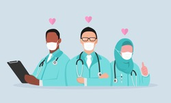 Doctor is a hero. thank you doctors and nurse. you are the best. from health care workers with love. Fight against covid-19 viruses. vector illustration