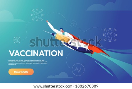 Doctor is Hero Holding Vaccine and Flying to Protect People by Fighting Against Covid-19 Corona Virus Prevent People from Getting Infected by Airborne Virus Represent By Cute Super Hero Character