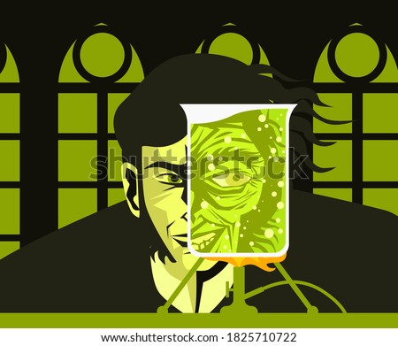 doctor jekyll and mister hyde test lab experiment tube poster Foto stock ©
