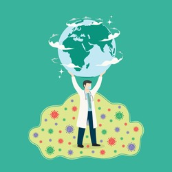 Doctor lifting up earth and saving from coronavirus epidemic. Rescue the earth from covid 19 virus. Earth save by doctor. Protect the earth from ncove virus. Doctor fighting coronavirus concept.