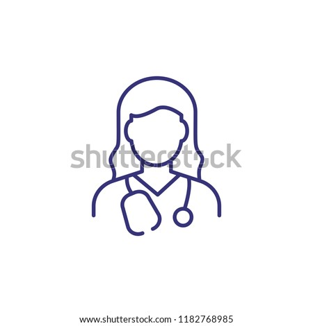 Doctor line icon. Woman with stethoscope. Occupation concept. Can be used for topics like medicine, clinic, health care #1182768985