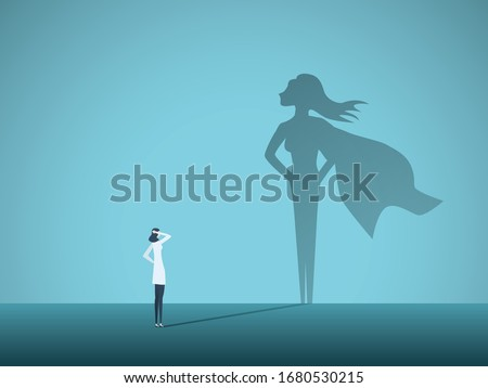 Doctor looking at superhero shadow on the wall. Hospital staff, nurses heroes fight coronavirus pandemic, epidemic. Strong, courage, brave life saving medical concept. Eps10 illustration.