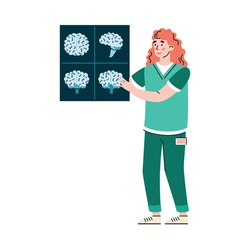 Doctor neurologist with x-ray scan of human brain, flat cartoon vector illustration isolated on white background. Neurology and research of human brain activity.