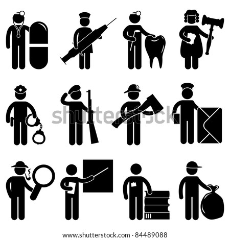 Doctor Nurse Dentist Judge Policeman Army Fireman Firefighter Postman Detective teacher Librarian Garbage Collector Job Occupation Sign Pictogram Symbol Icon - stock vector