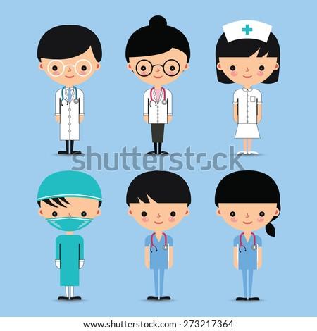 Doctor & Nurse. Hospital Medical Team Characters