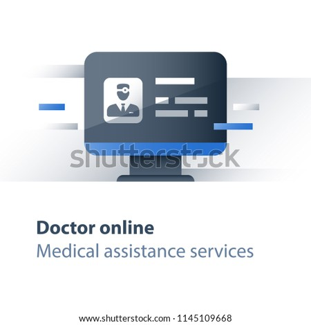 Doctor online, distant treatment, health care specialist, disease consulting, medical web services, internet resources, general practitioner guidance, vector icon, flat illustration