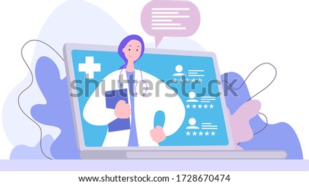 Doctor online. Medical cross. See rating of doctor. Choose doctor for consultation Foto stock ©