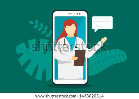 Doctor online mobile chat internet consulting. White female with stethoscope on smartphone screen and speech bubble answers question. Healthcare consultation web service. Vector illustration