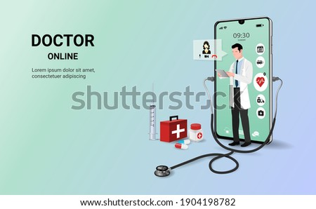 Doctor online on mobile app with male doctor standing. Online medical clinic, online medical consultation, tele medicine. Online healthcare and medical consultation. Digital health concept. 3D vector