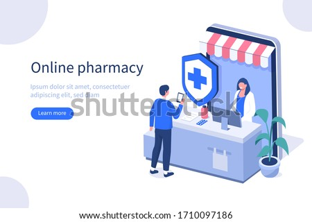 Doctor Pharmacist in Online Drugstore. Character Buying in Online Pharmacy Store. Man Standing near Cashier Desk and Talking with Pharmacy Staff.  Flat Isometric Vector Illustration.