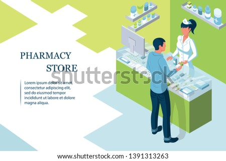 Doctor pharmacist in pharmacy. Man patient in drugstore. Web banner, template infographics. Shelves with medicines and pills. Nurse is at sales counter. Healthcare conceptual. Vector isometric design #1391313263