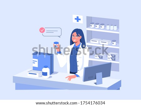 Doctor Pharmacist Standing at Cashier Desk and Holding Medicament. Near Standing Shopping Bag with Pills and Bottles. Purchases in Pharmacy Store Concept. Flat Cartoon Vector Illustration.