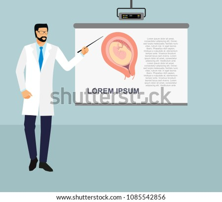 Doctor points on flipchart. doctor holding a pointer stick. Doctor with pointer in presentation stand . lecture, seminar, report, presentation, coaching, meeting.  Male in robe with Pointer